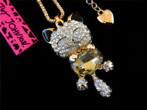 Betsey Johnson Gold Fashion Inlay Crystal Cat Pendant Charming