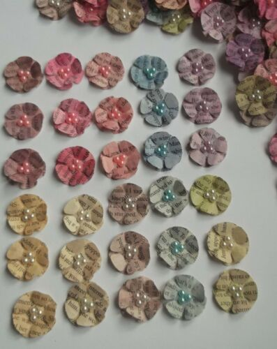 30 x 3D Pearl Flower Embellishments Card Making Scrapbooking Paper Craft Topper