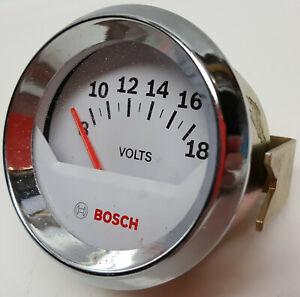 Bosch-Performance-Style-Line-brand-volt-meter-chrome-bezel-white-face-2-034-gauge