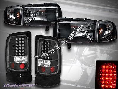 94-01 DODGE RAM 1500 2500 3500 BLACK HEADLIGHTS w/CORNER + TAIL LIGHTS BLACK LED