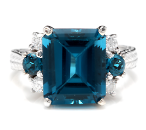 7.75 Carats Natural London bluee Topaz and Diamond 14K Solid White gold Ring