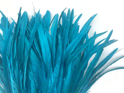 Turquoise Blue Strung Natural Bleach Dyed Coquetail Wholesale Feathers 1//2 Yard