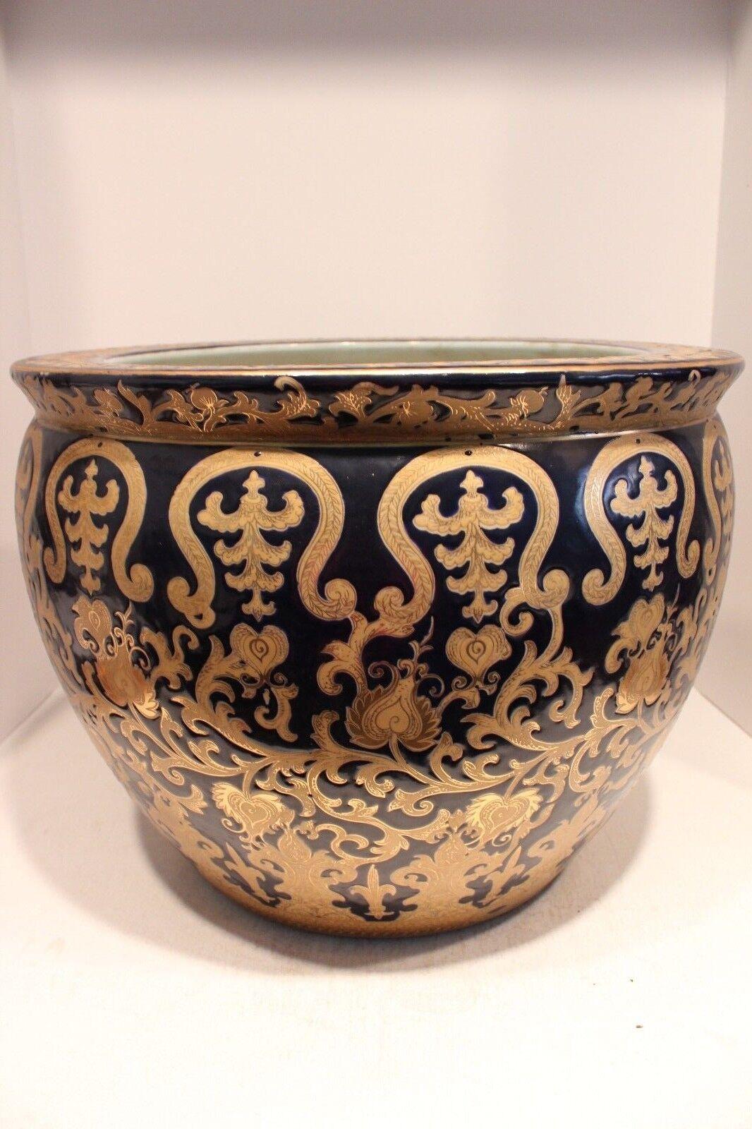Beautiful Navy and Gold Porcelain Fish Bowl Pot Tapestry Gold Gild 16