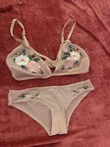 Bra And Matching Underwear Set Embroidered  Sz M Secret Possessions