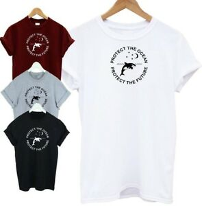 Protect-The-Ocean-T-shirt-Whales-Vegan-Plastic-Sea-T-SHIRT-ADULT-KIDS-SM-XXXL