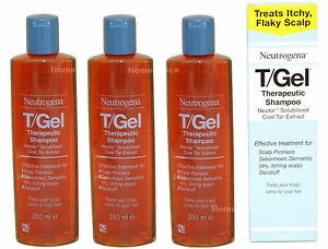 3-x-250ml-TGEL-T-GEL-THERAPUTIC-SHAMPOO-NEUTROGENA-T-GEL-Itchy-Scalp-Treatment