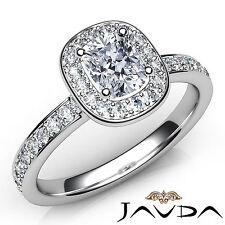 Cushion Diamond Halo Pave Set Engagement Ring GIA F VS1 18k White Gold 0.87Ct