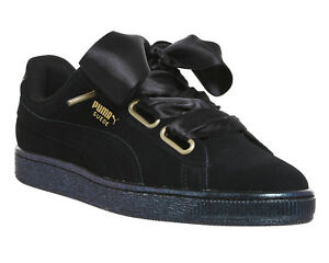 57320eb75dba Image is loading Womens-Puma-Suede-Heart-PUMA-BLACK-SATIN-Trainers-