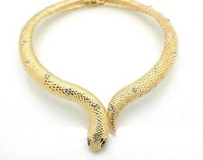 Snake Choker Necklace Set Crystal Women New Gold Tone