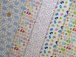 100-Cotton-Poplin-fabric-by-the-metre-baby-elephants-animals-Fat-Quarter-8B
