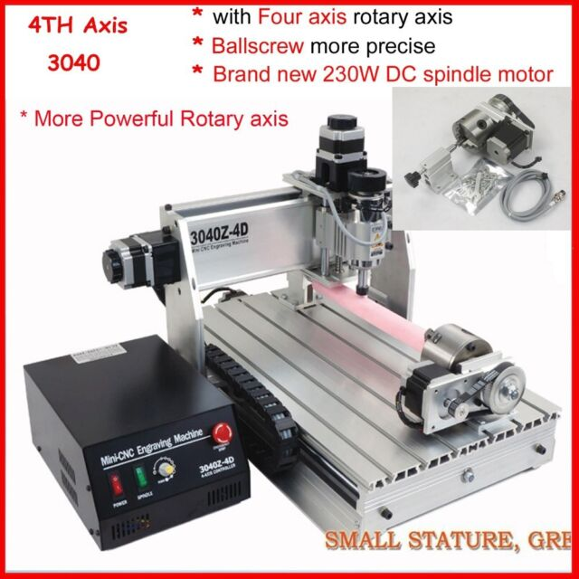 four 4 axis 3040 300W cnc router engraver engraving milling and drilling machine
