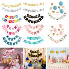 Gold Letter Happy Birthday Banner Paper Flag Ballon Garland Birthday Party HZA