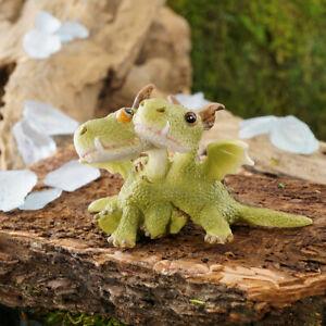 Miniature-Dollhouse-FAIRY-GARDEN-Mini-Dragons-Hugging-Accessories