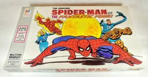 1977-NOS-MB-Spider-Man-Game-Fantastic-Four-FF-Marvel-Unused-Sealed-Pieces-Mint