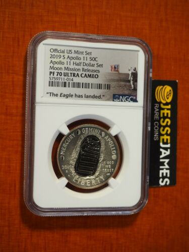 2019 S 50C PROOF APOLLO 11 HALF NGC PF70 ULTRA CAMEO MOON MISSION RELEASES