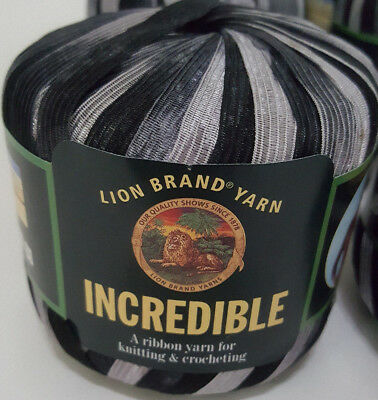 "INCREDIBLE Ribbon Yarn Lyon Brand /""Accents of Black/"" Vintage Chrochet Knit Grey"