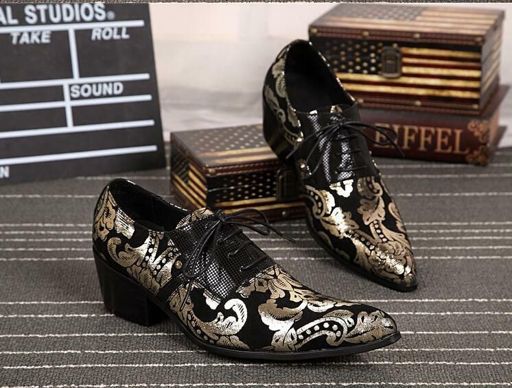 Hot Uomo Fashion Shoes Chunky Heels Pointy Toe Dress Formal  Party Show Brogues