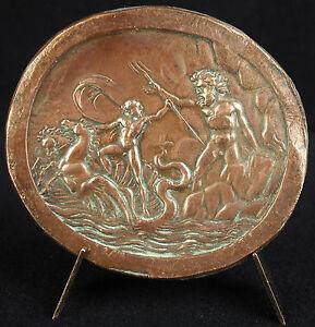 Medal Zeus & Poseidon Neptune Sound Trident & Char To Seahorse Mythology Medal