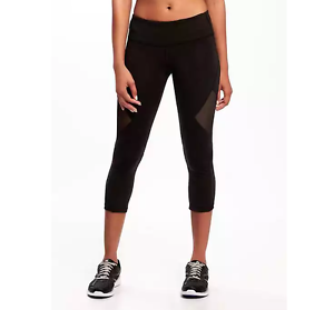 59ace1184f Old Navy Go-Dry Mid Rise Compression Mesh-Panel Crops for Women ...