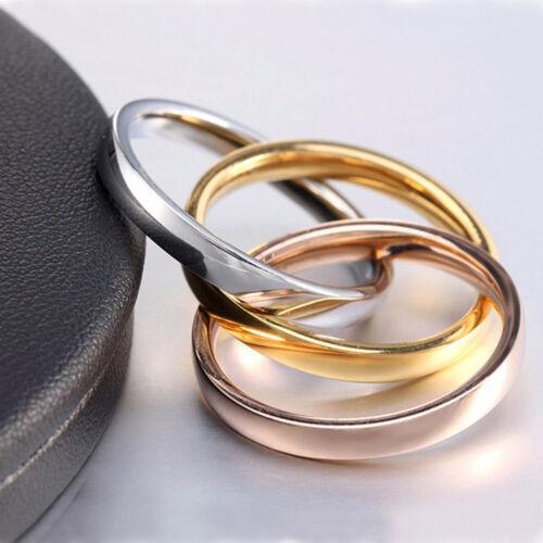 Triple Bague 3 en 1 Titane Anneau en acier trois Mix Couleur 3 Ring Set Femmes Mariage