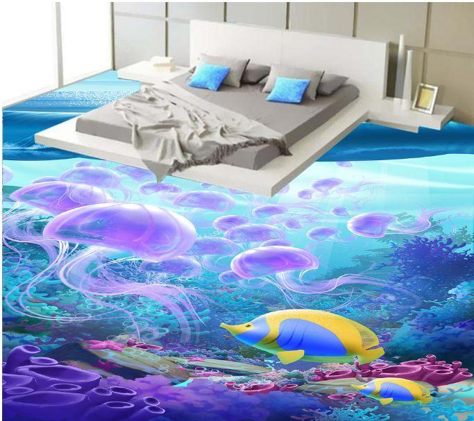 3D Dream Fish Jellyfish Floor WallPaper Murals Wall Print Decal 5D AJ WALLPAPER