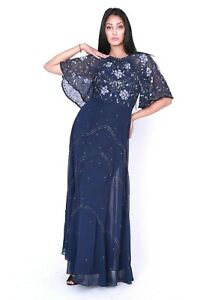 Asos-WEDDING-Navy-Flutter-Sleeve-Embellished-Cocktail-Maxi-Party-Dress-6-To-10