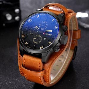 AU-2018-Curren-Men-039-s-Date-Brown-Leather-Black-Analog-Quartz-Sport-Wrist-Watches