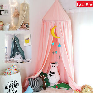 Cotton Cloth Bed Mosquito Net Mesh Canopy Princess Round Dome Bedding Baby Kids