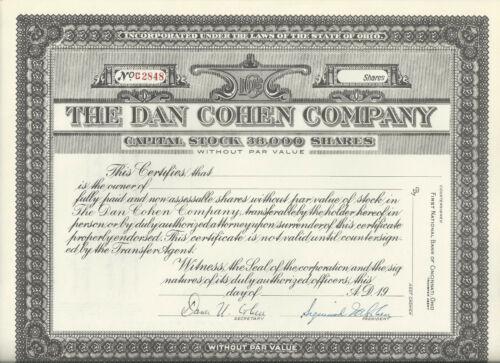 Hagerstown Md Ohio Cincinnati Dan Cohen Certificate interest