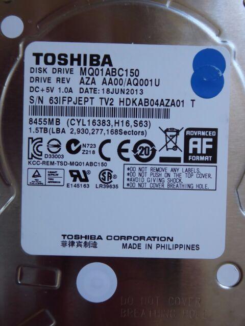 Toshiba MQ01ABC150 | AQ001U | 18 JUN 2013 | 1,5TB hard disk