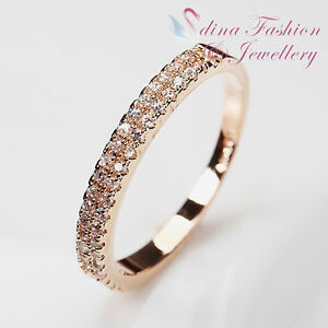 18K-Rose-Gold-Plated-Simulated-Diamond-Exquisite-Studded-Band-Ring-Jewellery