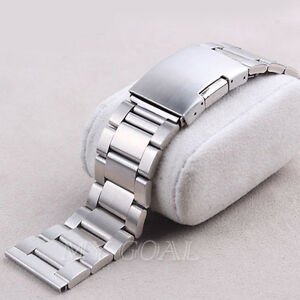 Silver-Stainless-Steel-Watch-Band-Strap-Straight-End-Bracelet-Links-18-20-22mm