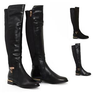 Womens-Ladies-Knee-High-Gold-Detail-Low-Block-Heel-Zip-Up-PU-Suede-Black-Boots