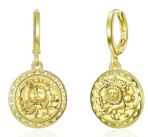 Sun-Coin-Drop-Dangle-Earrings-in-14K-Gold-Plated-ITALY