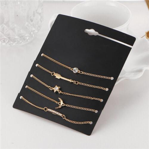 5Pcs//set Women/'s Rhinestones Crystal Wrist Chain Bracelet Bangle Jewelry Gift