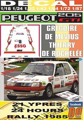 1985 31st DECAL 1//43 PEUGEOT 205 GTI G 01 DE MEVIUS YPRES 24 R
