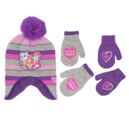 Nickelodeon Little Girls Paw Patrol Hat /& 2 Pair Mittens//Gloves Cold Weather Set
