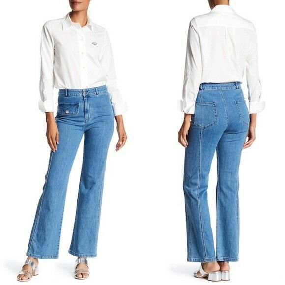 See By Chloe Wide Leg Denim Pants in Washed Indigo Size 28  360