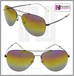 0f48d69e430 Image is loading GUCCI-Aviator-0500-GG2245S-Shiny-Black-Rainbow-Mirrored-