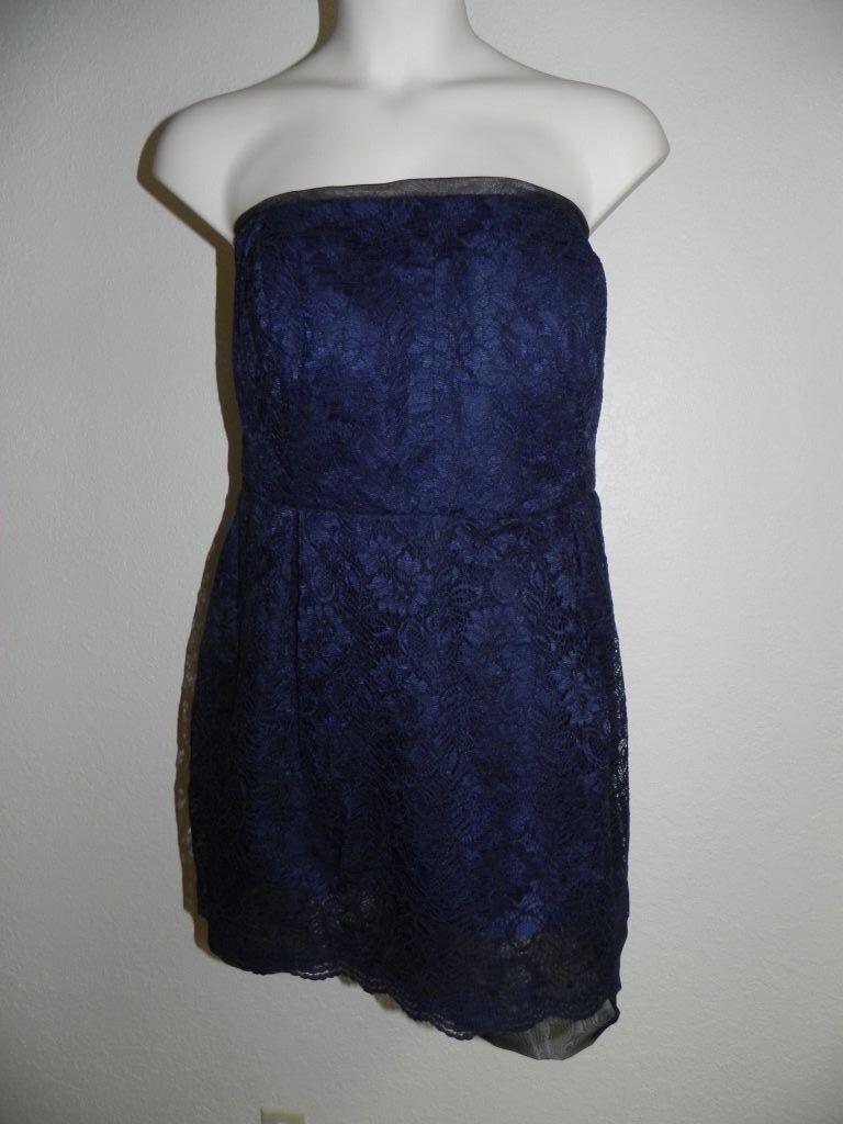 Davids Bridal Dress Plus Size 20 Marine Navy Strapless Lace Bridesmaid NWT  149