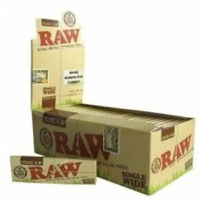 5-Units-x-RAW-Natural-Single-Wide-Organic-Hemp-Rolling-Papers-Brand-New