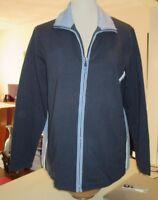 Maternity Zip Up Turtleneck Jog Jacket Sweat Top Blue Stretch Medium