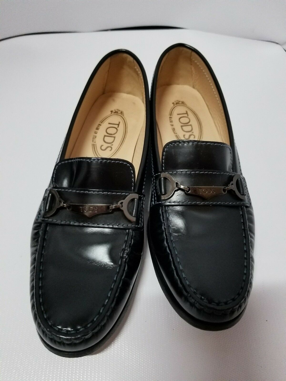 TOD'S MEN'S LEATHER LOAFERS MOCCASINS  MACRO CLAMP CLASSICO Size 7 slip on