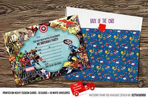 Detalles De Chicos Fiesta De Cumpleaños Invitaciones Super Héroe Héroe De Marvel Super Tarjetas Marvel X 10 Ver Título Original