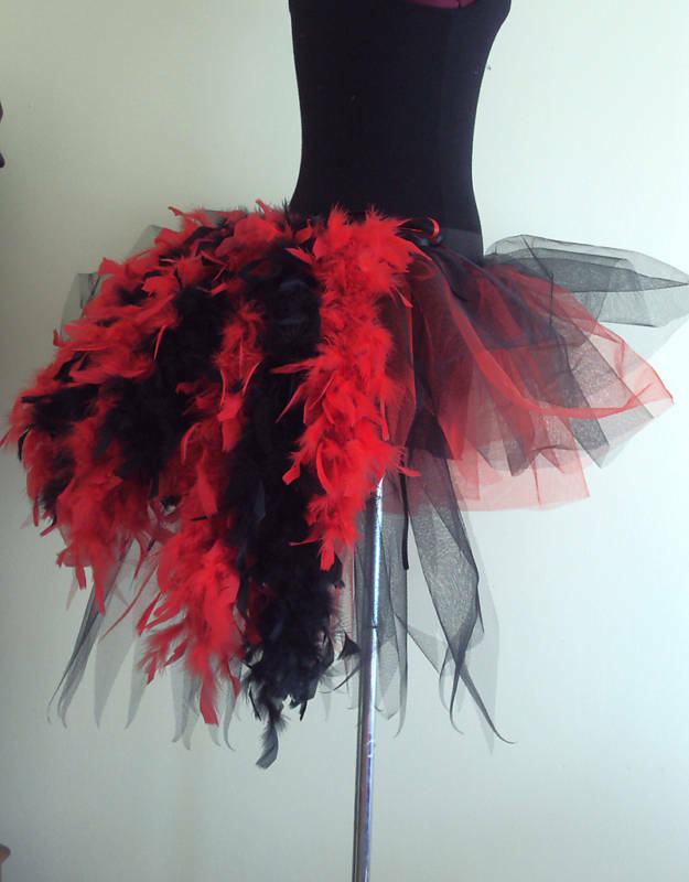 Burlesque Tutu Skirt Bustle Feathers size 6 8 10 12 Fancy Dress Halloween