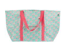 FLAMINGO Grande Pieghevole Shopping Bag Shopper Spalla Tote Blu Rosa Borsa Spiaggia