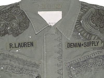 Polo Ralph Lauren Denim & Supply Mens Army Green Slim Distressed Jacket Coat New