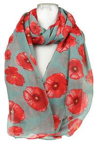 Ladies Women Poppy Flower Print Neck Shawl Scarf Scarves Wrap Stole Gift UK