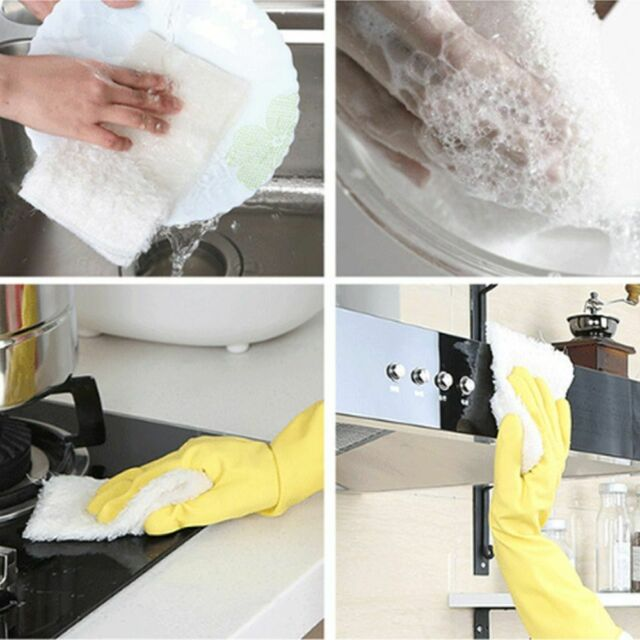 Bamboo Fiber Super Absorbent Dish Wash Double Thick Cloth Towel for Kitchen 5PCS