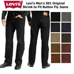 Levi's Homme 501 Original Shrink To Fit Bouton Fly Classic Rise Denim Jeans